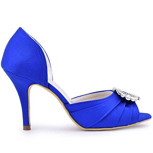 ElegantPark Donna Peep Pompe A2136 Pieghe Satin Fibbia Tacco Da Spillo Ballo Blu Toe Scarpe Sposa Partito A qrR5qxwp