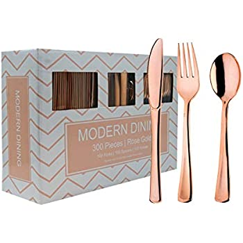 Modern Dining | 300 Rose Gold Plastic Silverware Cutlery Heavyweight Premium Quality Disposable Flatware Set Perfect Utensils for Weddings & Dinner Parties ...