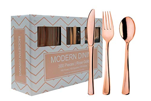 Modern Dining   300 Rose Gold Plastic Silverware Cutlery Heavyweight Premium Quality Disposable Flatware Set Perfect Utensils for Weddings & Dinner Parties   100 Forks, 100 Spoons, 100 Knives