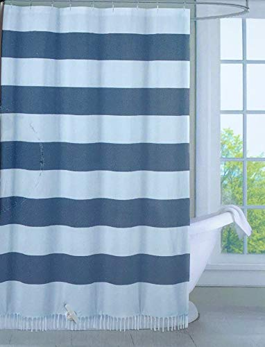 Envogue Designer Shower Curtain Wide Dark Blue Horizontal Stripes on White with Tassels on Bottom 100% Cotton Luxury - Cabana ()