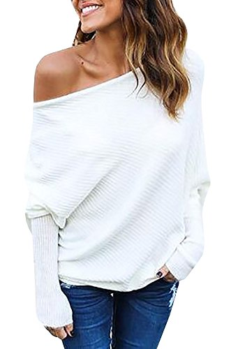 Imily+Bela+Women%27s+Knitted+One+Shoulder+Loose+Pullovers+Sweater+%28Large%2C+White%29