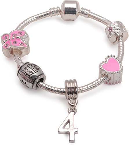 Liberty Charms Childrens Pink Happy 4th Birthday Silver Plated Charm Bead Bracelet. with Gift Box