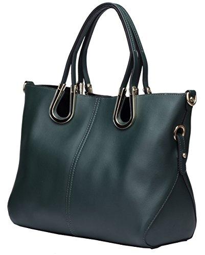 Heshe Fashion Women's/ladies Genuine Leather Lash Package Tote Purse Handbag Shoulder Cross Body Zipper Top Handle Bag (Dark Green)