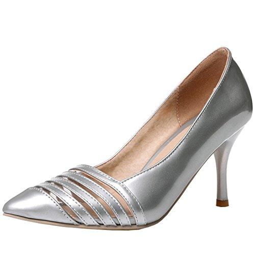 Azbro Mujer Zapatos de Estilete con Bomba Puntera Punta de Moda Plateado