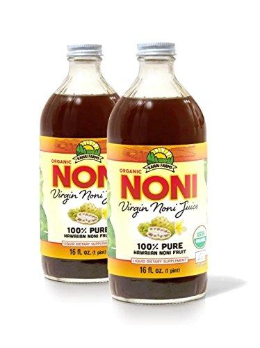 100 Noni Juice - Virgin Noni Juice - 100% Pure Organic Hawaiian Noni Juice - 2 Pack of 16oz Glass Bottles
