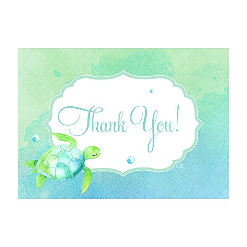 Set of 12 Thank You Notes and Envelopes with Nautical Coastal Sea Turtles Beach CTY004