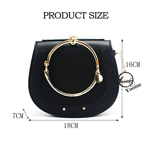 Handle Women Black Crossbody Handbags Ring Yoome Punk Circular Girls For Purse Small Round Bags nZxgIxwO