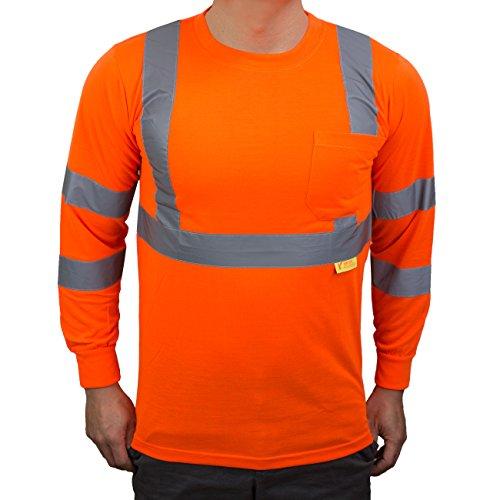 NY Hi-Viz Workwear L9091 Class 3 High Vis Reflective Long Sleeve ANSI Safety Shirt (Large, Orange) by New York Hi-Viz Workwear (Image #1)