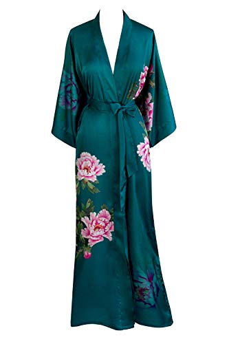 - Old Shanghai Women's Kimono Robe Long - Watercolor Floral, Peony & Bird - Teal, One Size.