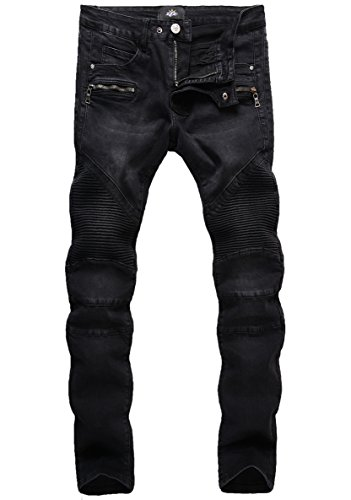 ZLZ Slim Fit Biker Jeans, Men's Super Comfy Stretch Skinny Biker Denim Jeans Pants (32, Black) -