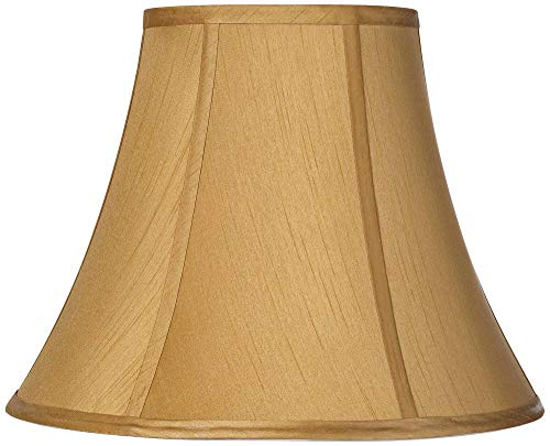 Smooth White Silk Shade - Coppery Gold Bell Lamp Shade 7x14x10.5 (Spider) - Springcrest