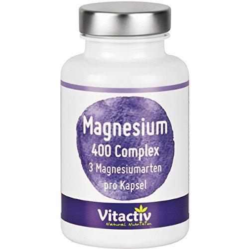 Magnesium 400mg Complex - 3 Magnesium Arten (inkl. Magnesium-Citrat) in einer Kapsel. Die 3 in 1 Magnesium-Formel (120 Kapseln)