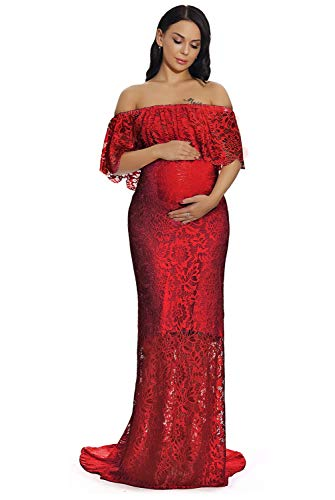aafcd60d83087 ZIUMUDY Women's Off Shoulder Ruffles Lace Maternity Gown Maxi Photography  Baby Shower Dress (Large,