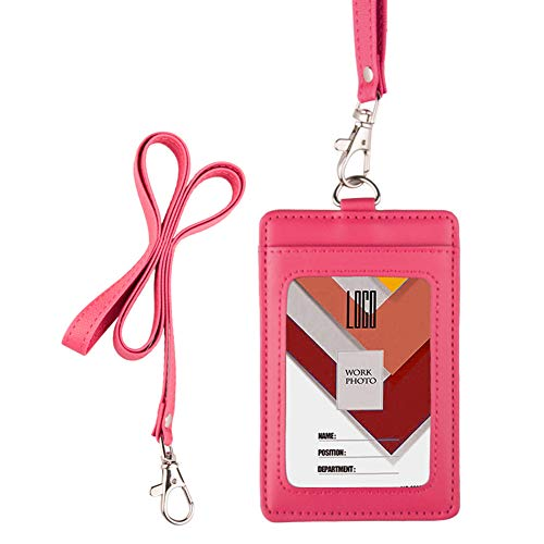 Indressme 2-Sided Vertical Genuine Leather ID Badge Holder with Lanyard (Hot Pink)