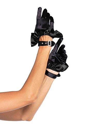 Leg Avenue Women's Cropped Satin Ruffle Gloves, Black, One (Black Womens Halloween Costumes)