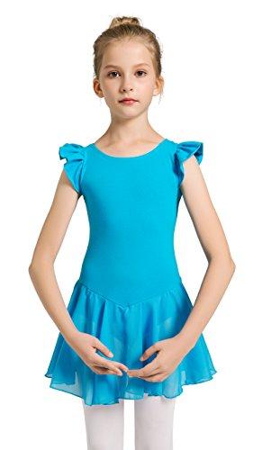 f578ff97953a3 Girls Dance Ballet Leotard Flying Short Sleeve Flowy Tutu Skirt Children  Cotton Dress Dancewear(10
