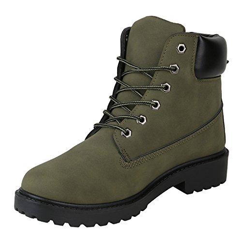 Stiefelparadies Herren Worker Boots Profilsohle Flandell Dunkelgrün Agueda