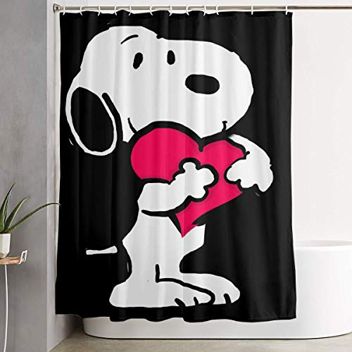 WSXEDC Shower Curtain Snoopy Love Waterproof Curtain 60 X 72 Inches ()