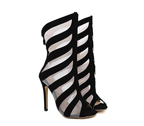 Sandals Tacco Colore Womens Tacchi Spillo Moda 38 Mesh Eleganti Alti Traspiranti Stivali a Estivi Nero Scarpe Tacco Scarpe Dimensione Alto dwvw1Ba