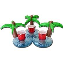 GoPong Floating Palm Island Drink Holder, Pack of 3, Multi Color