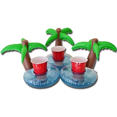 GoFloats Inflatable Palm Island Drink Holder (3 Pack), Float your drinks in style