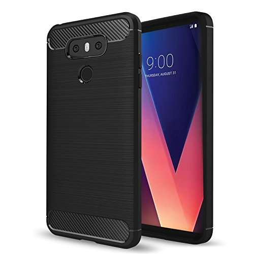 LG V30 Cover,V30 Case,LG V30 Plus Case, AnoKe Ultra [Slim Thin] Hybrid Shock Absorption Scratch Resistant Soft TPU Grip Soft Skin Silicone Bumper Full-body Protective Cases Cover For LG V30 HWLS Black