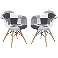 LeisureMod Willow Mid-Century Fabric Eiffel Wooden Base Accent Side Armchair, Set of 2 (Patchwork)