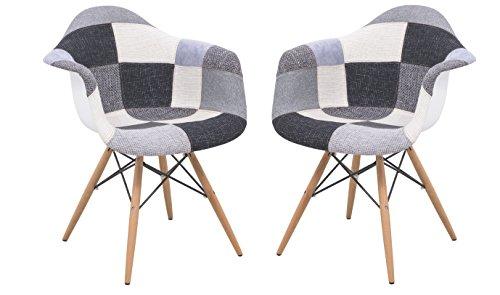 LeisureMod VCW24FC2 Emerson Modern Wood Eiffel Base Fabric Side Accent Chair, Set of 2, Patchwork
