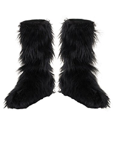 Costume D'halloween (D/Ceptions 2 Black Furry Boot Covers Costume Accessory, One Size)