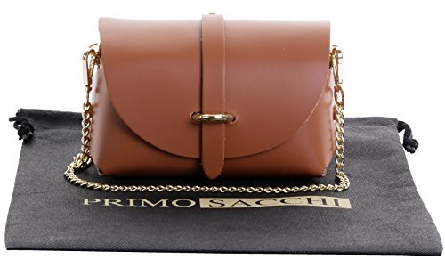 Primo Sacchi Italian Leather Mini Small Micro Dark Tan Shoulder Cross body Evening Bag With Metal Chain Strap But I Italian Handbag