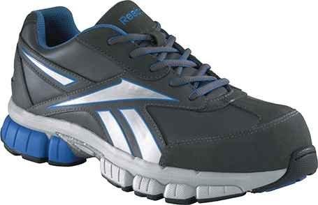 Cheap Reebok Mens Grey/Blue Suede Mesh Athletic Oxford Ketia Composite Toe 8 M