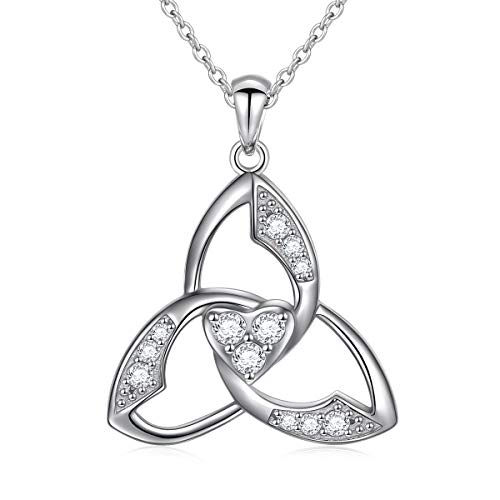 - 925 Sterling Silver Celtic Trinity Knot Pendant Necklace for Women Girls Ladies Jewelry Gifts Birthday Christmas