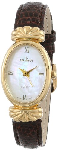 Peugeot Women's 712-6 Gold-Tone Brown Leather Strap Watch