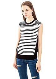 Fashion Sleeveless Sweater Vest Blouse No Sleeves Black Vest