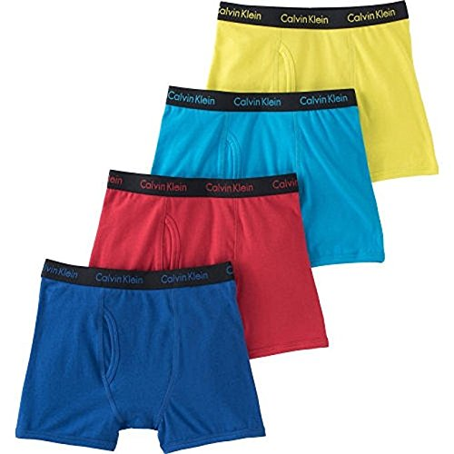 Calvin Klein Cotton Stretch Boys Boxer Briefs (4 Pack) (Small, Blue-Red-SkyBlue-Green) -