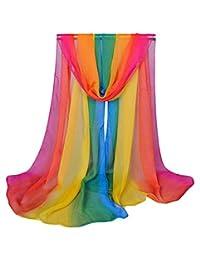 Alysee Women Charming Silk Georgette Long Scarf Shawl Wrap Color Rainbow