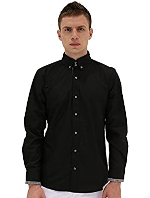 Allegra K Men Point Collar Long Sleeve Plaids Detail Button Down Shirt