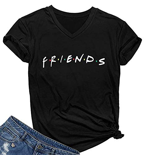 SELECTEES Women Friends V-neck T Shirts Graphic Teen Girls Cute Tops Black X-Large