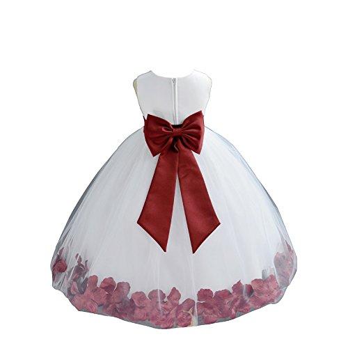 ekidsbridal White Tulle Rose Petals Flower Girl Dress Tulle Dress Christening Dress 302T 2 -