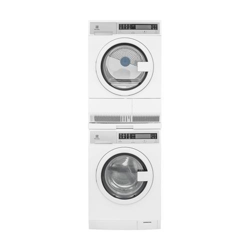 White Compact Laundry Pair with EIFLS20QSW 24 Front Load Washer EIED200QSW 24 Electric Condense Dryer and STACKIT24 Stacking Kit White Stacking Kit