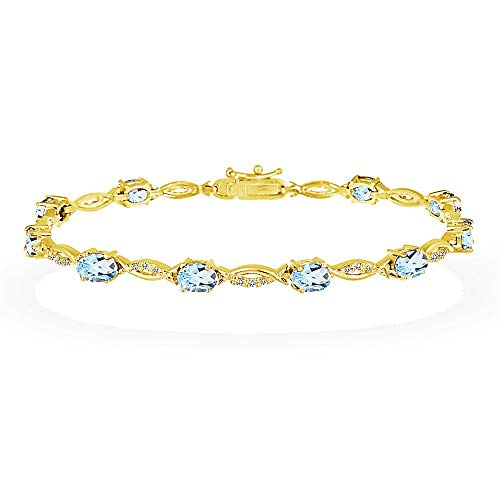 GemStar USA Yellow Gold Flashed Sterling Silver Blue and White Topaz Oval-Cut Swirl Tennis Bracelet