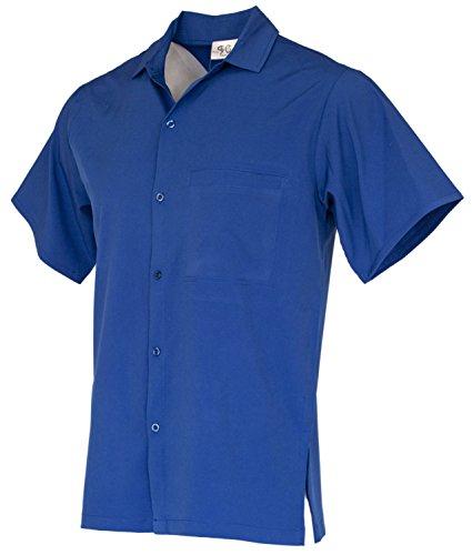 Funny Guy Mugs Mens Plain Royal Blue Hawaiian Print Button Down Short Sleeve Shirt, Medium ()