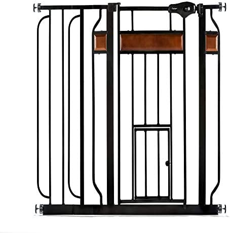 """41sJWfzQDGL. AC Carlson Home Design Extra Wide Walk Thru Pet Gate with Small Pet Door, Includes Décor Hardwood, 4-Inch Extension Kit, 4-Inch Extension Kit, 4 Pack of Pressure Mount Kit and 4 Pack of Wall Mount Kit    Cast-iron gate with wood accents keeps children and pets contained in safe areas, and can be opened with a single adult hand Ideal for Children and Pets Span: 30"""" to 41.5"""" Gate Height: 30""""/Depth:1"""" Weight: 12lbs. Easy Close"""" handle comes equipped with a safety-locking feature This wide metal walk through safety gate is perfect to fit a variety of openings in your home. Features premium cherry wood inserts and a black finish. Perfect to fit a variety of openings in your home. Includes 4"""" and 6"""" extension kits. The easy to adjust pressure-mounting system makes installation quick and easy When your hands are full the convenient """"Easy Close"""" handle is designed to allow you to simply push this gate closed making your job a little easier """"Easy Close"""" handle comes equipped with a safety-locking feature. Home Décor safety gate is the perfect combination of function and fashion. This gate meets all current safety standards. Works great for pets too Sold Individually"""