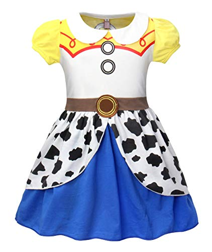 Jurebecia Girls Jessie Fancy Dress up Jessie Halloween Costume Dress Holiday Party Dresses Size 4T Yellow ()