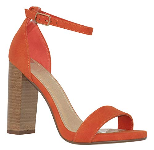 MVE Shoes Women's Open Toe Chunky Heel Strappy Heeled Sandal, Shiner ORG/Stack 6.5]()