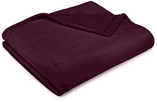- Pinzon Velvet Plush Blanket - Full/Queen, Aubergine