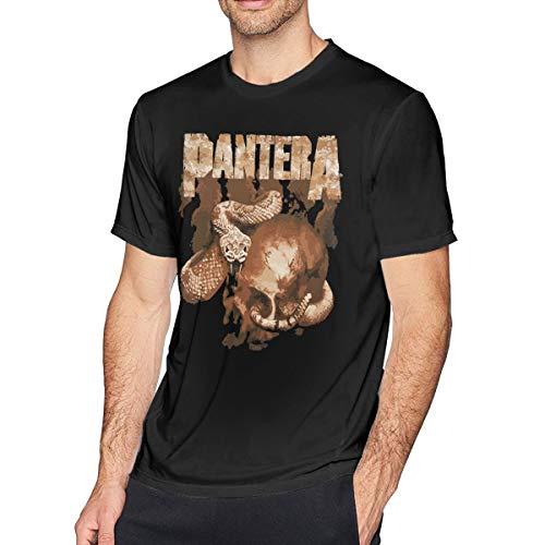 - LixuA Pantera Rattler Skull Men's T-Shirts Tops Casual Short Sleeve O-Neck Tee Shirt Black