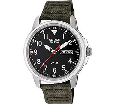 Citizen Eco-Drive - Reloj analógico con Correa de Lona Verde para Hombre: Amazon.es: Relojes