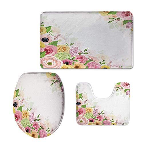 iPrint 3 Piece Extended Bath mat Set,Anemone Flower,Roses Ranunculus Hydrangea Flowers Green Leaves Frame Decorative,Light Pink Yellow Green (Somerset 3 Light Bath)