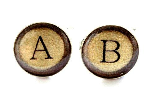 Vintage Style Typewriter Key Monogram Cufflinks by Sophie Hutchinson Designs